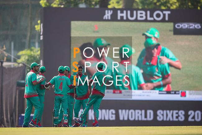 Players of Bangladesh celebrate during Day 1 of Hong Kong Cricket World Sixes 2017 Group B match between Bangladesh vs Sri Lanka at Kowloon Cricket Club on 28 October 2017, in Hong Kong, China. Photo by Yu Chun Christopher Wong / Power Sport Images