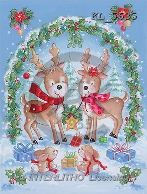 Interlitho, Arthur, CHRISTMAS ANIMALS, paintings, reindeercouple, rabbit(KL5635,#XA#) Weihnachten, Navidad, illustrations, pinturas