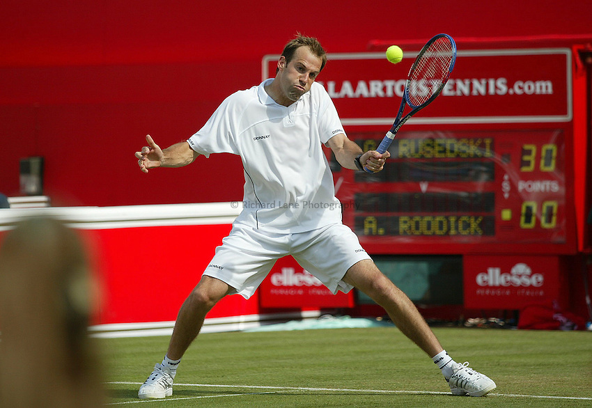 Photograph: Scott Heavey..Day 4 of the Stella Artois Championship at the Queens Club. 12/06/2003..Greg Rusedski