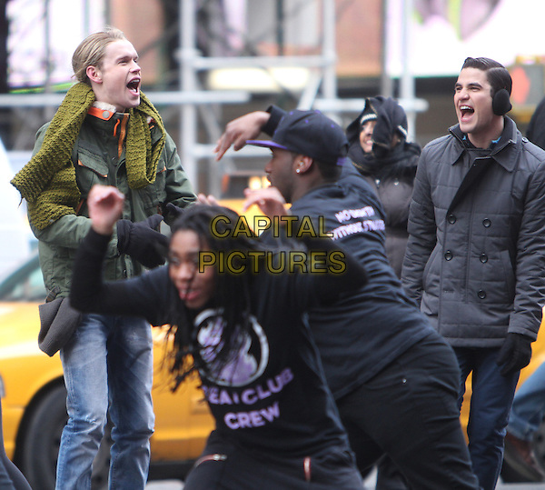NEW YORK, NY - MARCH 13: Chord Overstreet and Darren Criss on the set of Fox tv's Glee on Times Square in New York City. March 13, 2014.  <br /> CAP/MPI/RW<br /> &copy;RW/ MediaPunch/Capital Pictures