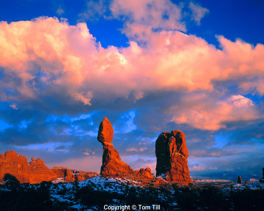 Sunset Clouds at Balanced Rock, Arches National Park, Utah