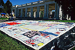 AIDS QUILT ON DISPLAY AT DENVER'S CHEESEMAN PARK ON AIDS WALK COLORADO DAY