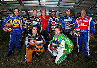 Jan. 18, 2012; Jupiter, FL, USA: Don Schumacher Racing drivers (front row from left) Spencer Massey , Jack Beckman (back row from left) Ron Capps , Tony Schumacher , team owner Don Schumacher , Antron Brown , Matt Hagan and Johnny Gray pose for a team photo during testing at the PRO Winter Warmup at Palm Beach International Raceway. Mandatory Credit: Mark J. Rebilas-