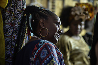 CALI - COLOMBIA. 16-08-2019: Mujeres afro son vistas durante el tercer día del XXIII Festival de Música del Pacífico Petronio Alvarez 2019 el festival cultural afro más importante de Latinoamérica y se lleva acabo entre el 14 y el 19 de agosto de 2019 en la ciudad de Cali. / Afro descendant women are seen  pose with the people during the XXIII Pacific Music Festival Petronio Alvarez 2019 that is the most important afro descendant cultural festival of Latin America and takes place between August 14 and 19, 2019, in Cali city. Photo: VizzorImage/ Gabriel Aponte / Staff