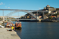 Dom Luis I bridge seen from Cais da Ribeira porto portugal
