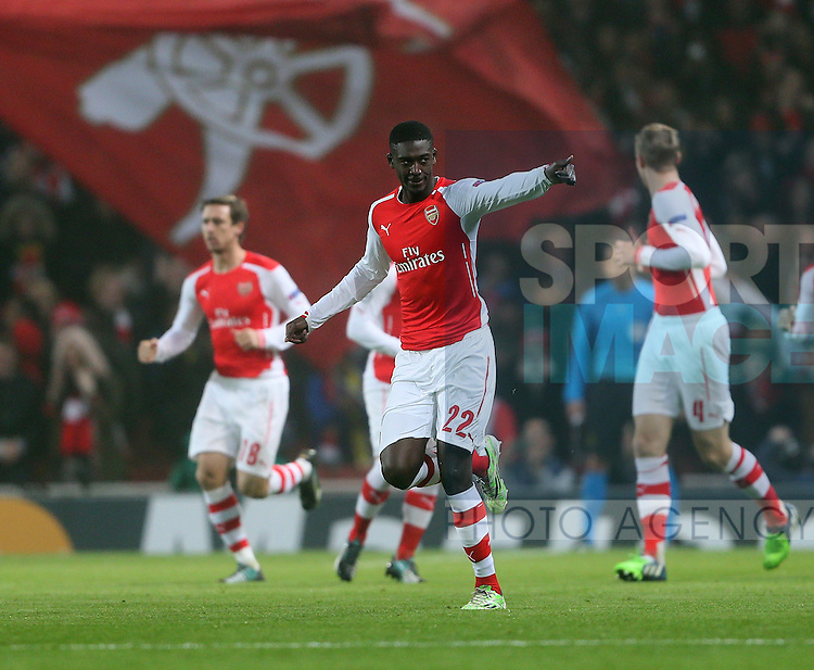 Arsenal's Yaya Sanogo celebrates scoring his sides opening goal<br /> <br /> UEFA Champions League- Arsenal vs Borussia Dortmund- Emirates Stadium - England - 26th November 2014 - Picture David Klein/Sportimage