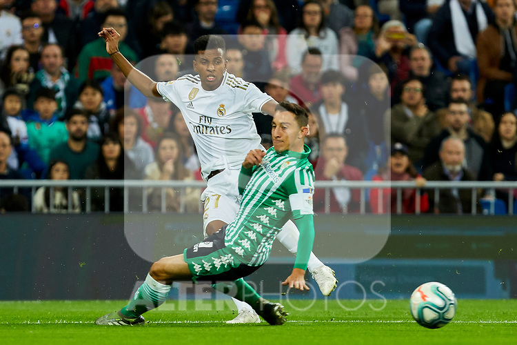 Rodrygo Goes of Real Madrid and Andres Guardado of Real Betis Balompie during La Liga match between Real Madrid and Real Betis Balompie at Santiago Bernabeu Stadium in Madrid, Spain. November 02, 2019. (ALTERPHOTOS/A. Perez Meca)