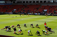 Blackpool players go through their warm ups<br /> <br /> Photographer Alex Dodd/CameraSport<br /> <br /> The EFL Sky Bet League One - Blackpool v MK Dons  - Saturday September 14th 2019 - Bloomfield Road - Blackpool<br /> <br /> World Copyright © 2019 CameraSport. All rights reserved. 43 Linden Ave. Countesthorpe. Leicester. England. LE8 5PG - Tel: +44 (0) 116 277 4147 - admin@camerasport.com - www.camerasport.com