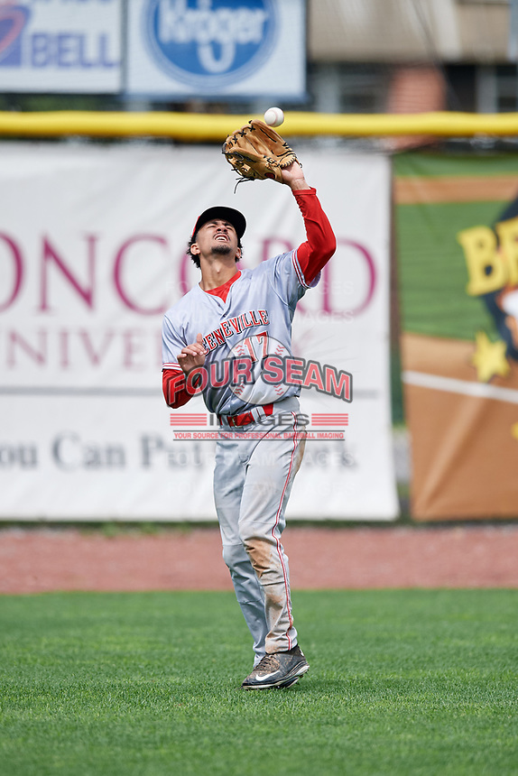 Greeneville Reds left fielder Nate Scantlin (17) settles under a fly ball during the first game of a doubleheader against the Princeton Rays on July 25, 2018 at Hunnicutt Field in Princeton, West Virginia.  Princeton defeated Greeneville 6-4.  (Mike Janes/Four Seam Images)