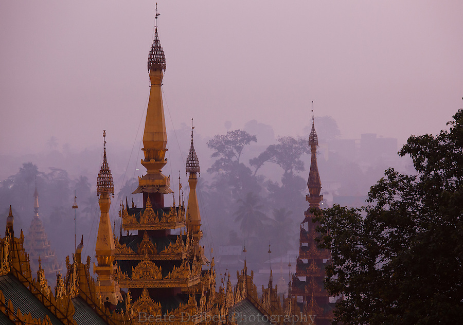 view from the Shwedagon pagoda at sunrise, Yangon, Myanmar