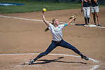 30 MAY 2016: Courtney Allen (1) of Messiah College delivers a pitch during the Division III Women's Softball Championship held at the James I Moyer Sports Complex in Salem, VA.  University of Texas-Tyler defeated Messiah College 7-0 for the national title. Don Petersen/NCAA Photos