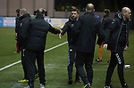 Clyde versus Edinburgh City, SPFL League 2 game at Broadwood Stadium, Cumbernauld. The match ended 0-0, watched by a crowd of 461. Photo shows City manager shaking hands with his counterpart Barry Ferguson at the final whistle.