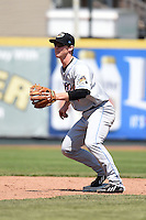 Akron RubberDucks second baseman Joe Wendle (7) during a game against the Erie SeaWolves on May 18, 2014 at Jerry Uht Park in Erie, Pennsylvania.  Akron defeated Erie 2-1.  (Mike Janes/Four Seam Images)