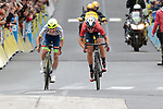 Guillaume Martin (FRA) Wanty-Gobert and Dylan Teuns (BEL) Bahrain-Merida neck and neck as they sprint for the finish of Stage 2 of the Criterium du Dauphine 2019, running 180km from Mauriac to Craponne-sur-Arzon, France. 9th June 2019<br /> Picture: Colin Flockton | Cyclefile<br /> All photos usage must carry mandatory copyright credit (© Cyclefile | Colin Flockton)