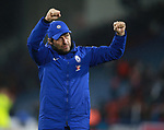 Antonio Conte manager of Chelsea celebrates the win with the fans during the premier league match at the John Smith's Stadium, Huddersfield. Picture date 12th December 2017. Picture credit should read: Simon Bellis/Sportimage