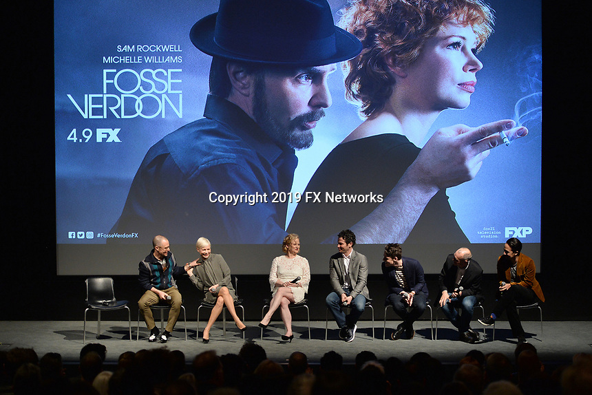 "NEW YORK - APRIL 7: (L-R) Sam Rockwell, Michelle Williams, Nicole Fosse, Thomas Kail, Steve Levenson, Joel Fields and Lin-Manuel Miranda attend a Q&A after the screening of FX's ""Fosse Verdon"" presented by FX Networks, Fox 21 Television Studios, and FX Productions at the Museum of Modern Art on April 7, 2019 in New York City. (Photo by Anthony Behar/FX/PictureGroup)"
