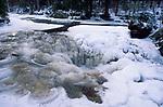 Snow Scene, Canada, showing frozen river/stream, ice