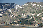bicycling, bicyclists, tour, Rock Cut, Trail Ridge, mountains, summer, morning, Rocky Mountain National Park, Colorado, USA