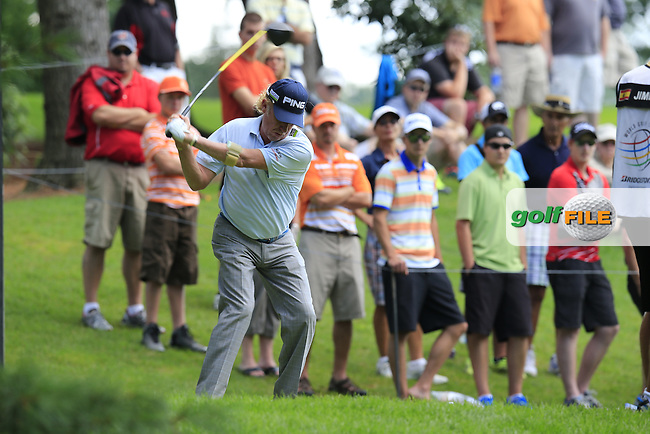 Miguel Angel Jimenez (ESP) tees off the 2nd tee during Saturday's Round 3 of the 2013 Bridgestone Invitational WGC tournament held at the Firestone Country Club, Akron, Ohio. 3rd August 2013.<br /> Picture: Eoin Clarke www.golffile.ie