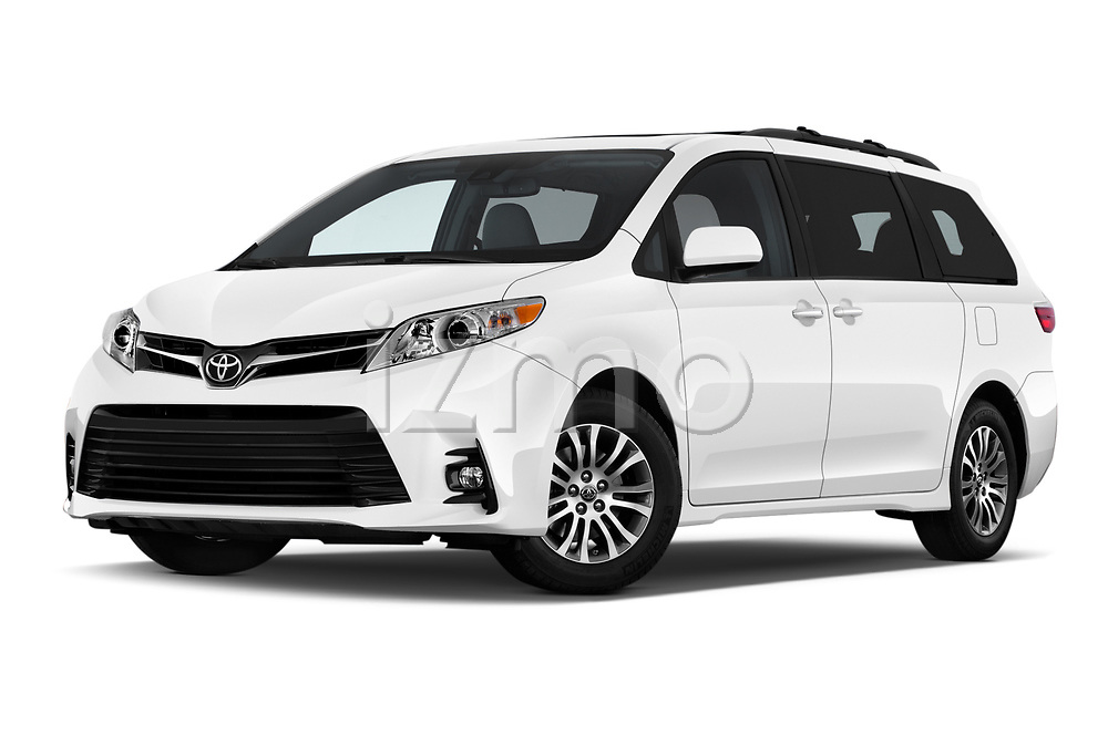 Stock pictures of low aggressive front three quarter view of a 2018 Toyota Sienna XLE 5 Door Mini Van