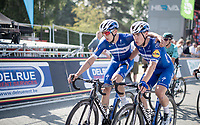 Alvaro Hodeg (COL/Deceuninck Quick Step) & Fabio Jakobsen (NED/Deceuninck Quick Step) crossing the finish line after having missed the opportunity of a win because of a late race crash that completely ruined their bunch sprint preparations <br /> <br /> 72nd Halle - Ingooigem 2019 (BEL/1.1)<br /> 1 day race from Halle to Ingooigem (201km)<br /> <br /> ©kramon
