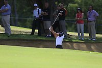 Michael Sim  (AUS) in a bunker on the 9th during Round 1 of the ISPS HANDA Perth International at the Lake Karrinyup Country Club on Thursday 23rd October 2014.<br /> Picture:  Thos Caffrey / www.golffile.ie