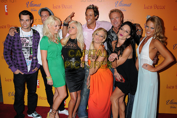 "THE CAST OF ""SUNSET TAN"".""Sunset Tan"" Season 2 Premiere Party at Les Deux, Hollywood, California, USA..July 30th, 2008.full length green dress black blue white orange purple top 3/4 hands blowing kiss kisses .CAP/ADM/BP.©Byron Purvis/AdMedia/Capital Pictures."