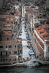 An elevated view of a canal in Castello, Venice, Italy