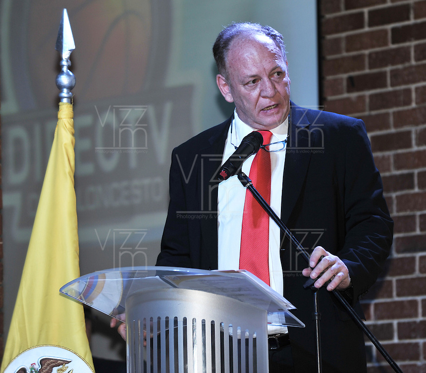 BOGOTÁ-COLOMBIA-14-02-2013: José Firstman, Presidente de la Federación Colombiana de Baloncesto durante el lanzamiento del campeonato de La Liga Direct TV de Baloncesto Profesional lanzado hoy en Bogotá, febrero 14 de 2013. El campeonato que tendrá dos temporadas a lo largo del año, será disputado en dos fase eliminatorias y plays off por 8 clubes, el campeón será el que gane 4 de 7 partidos. Además el equipo ganador tendrá cupo en la Liga Suramericana de Clubes de la Federación Internacinal de Baloncesto FIBA. (Foto: VizzorImage /  Luis Ramírez / Staff). José Firstman, President of the Colombian Federation of Basketball during the launch of League Championship Professional Basketball Direct TV launched today in Bogotá, February 14, 2013. The tournament will have two seasons throughout the year, will be played in two qualifiers and plays off stage by 8 clubs, the champion will be the winner 4 of 7 games. Besides the winning team will share in the South American League Club Basketball Federation FIBA Internacinal. (Photo: VizzorImage / Luis Ramirez / Staff).......