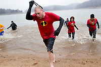 NWA Democrat-Gazette/CHARLIE KAIJO Attendees race out of freezing cold water during the annual Beaver Lake Polar Plunge, Saturday, February 10, 2018 at the Praire Creek swim area in Rogers.<br />