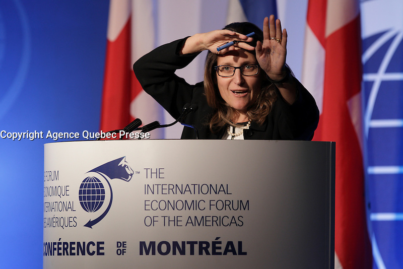 Chrystia Freeland, <br /> Minister of International Trade, Canada  attend the 22nd edition of the Conference of Montreal, held June 13 to 15, 2016<br /> <br /> PHOTO : Pierre Roussel -  Agence Quebec Presse