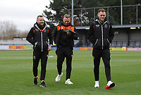Blackpool's Jay Spearing, Ryan McLaughlin and Harry Pritchard<br /> <br /> Photographer Kevin Barnes/CameraSport<br /> <br /> The EFL Sky Bet League One - AFC Wimbledon v Blackpool - Saturday 29th December 2018 - Kingsmeadow Stadium - London<br /> <br /> World Copyright &copy; 2018 CameraSport. All rights reserved. 43 Linden Ave. Countesthorpe. Leicester. England. LE8 5PG - Tel: +44 (0) 116 277 4147 - admin@camerasport.com - www.camerasport.com