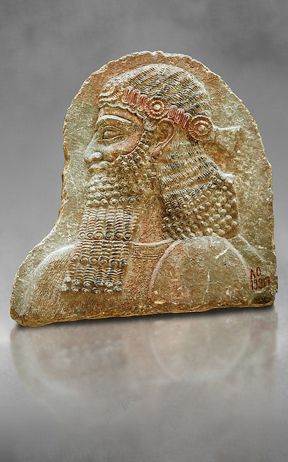 Stone relief sculptured panel of a man. From the facade of the throne room,  Inv AO 19917 from Dur Sharrukin the palace of Assyrian king Sargon II at Khorsabad, 713-706 BC.  Louvre Museum Room 4 , Paris