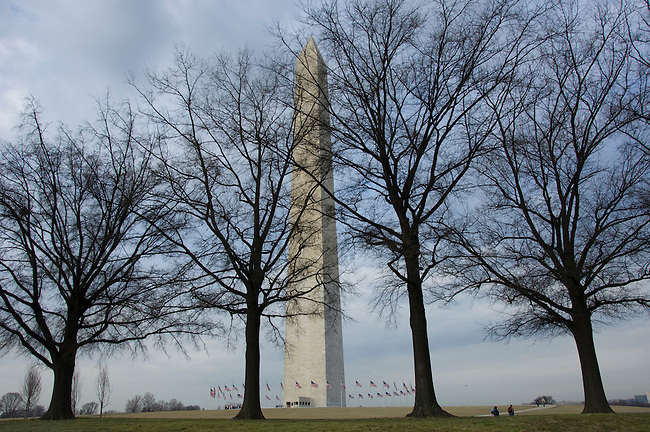 "Early morning in March, Washington Monument, shaped like an Egyptian obelisk, 555' 5/8"" high, National Memorial, National Park Service, Washington DC, USA.."