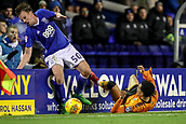 4th December 2017, St. Andrews Stadium, Birmingham, England; EFL Championship football, Birmingham City versus Wolverhampton Wanderers; Stephen Gleeson of Birmingham City and Hélder Costa of Wolverhampton Wanderers tangle close to the advertising boards