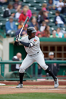 Wisconsin Timber Rattlers designated hitter Demi Orimoloye (6) at bat during a game against the Fort Wayne TinCaps on May 10, 2017 at Parkview Field in Fort Wayne, Indiana.  Fort Wayne defeated Wisconsin 3-2.  (Mike Janes/Four Seam Images)