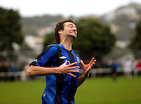 Miramar's Dominic Rowe curses a missed chance. Chatham Cup football - Miramar Rangers v Wellington United at David Farrington Park, Wellington on Sunday, 25 July 2010. Photo: Dave Lintott/lintottphoto.co.nz