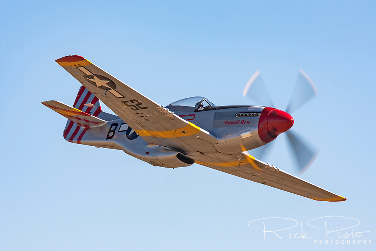 Fred Cabanas pilots Abigail Rose\American Beauty to a second place finish in the Unlimited Bronze Class at the 2009 National Championship Air Races. Race 52, a stock P-51D Mustang, finished with a speed of 363.235 MPH.