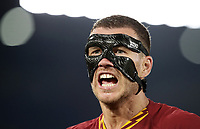 Football, Serie A: AS Roma - AC Milan, Olympic stadium, Rome, October 27, 2019. <br /> Roma's captain Edin Dzeko reacts during the Italian Serie A football match between Roma and Milan at Olympic stadium in Rome, on October 27, 2019. <br /> UPDATE IMAGES PRESS/Isabella Bonotto