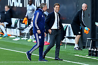 10th July 2020; Craven Cottage, London, England; English Championship Football, Fulham versus Cardiff City; Fulham Manager Scott Parker speaks with Cardiff City Manager Neil Harris