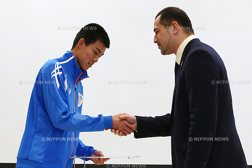 (L-R)<br /> Wataru Inuzuka,<br /> Koji Murofushi,<br /> JANUARY 9, 2015 - Athletic : <br /> Certification ceremony of Diamond athletes is held at Ajinomoto National Training Center, Tokyo, Japan.<br /> Diamond athletes is players who would play an active part in Tokyo Olympic 2020.<br /> (Photo by Shingo Ito/AFLO SPORT) [1195]