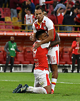 BOGOTA - COLOMBIA - 01 - 03 - 2018: Wilson Morelo (Izq.), jugador de Independiente Santa Fe celebra el gol anotado a Emelec (ECU), durante partido entre Independiente Santa Fe (COL) y Emelec (ECU), de la fase de grupos, grupo 4, fecha 1 de la Copa Conmebol Libertadores 2018, jugado en el estadio Nemesio Camacho El Campin de la ciudad de Bogota. / Wilson Morelo (L), player of Independiente Santa Fe celebrates a scored goal to Emelec (ECU), during a match between Independiente Santa Fe (COL) and Emelec (ECU), of the group stage, group 4, 1st date for the Conmebol Copa Libertadores 2018 at the Nemesio Camacho El Campin Stadium in Bogota city. Photo: VizzorImage  / Luis Ramirez / Staff.