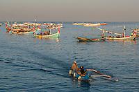 Jimbaran, Bali, Indonesia.  Fishing Boats in Early Morning.