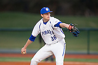 Seton Hall Pirates relief pitcher Sam Burum (36) in action against the Cornell Big Red at The Ripken Experience on February 27, 2015 in Myrtle Beach, South Carolina.  The Pirates defeated the Big Red 3-0.  (Brian Westerholt/Four Seam Images)