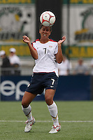 USWNT's Shannon Boxx (7) heads the ball. The U.S. Women's National Team defeated Canada 1-0 in a friendly match at Marina Auto Stadium in Rochester, NY on July 19, 2009. Abby Wambach of the USWNT scored her 100th career goal in the second half..