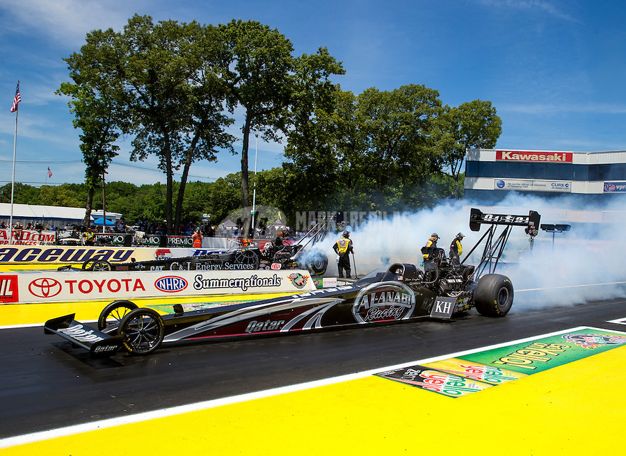 Jun. 1, 2014; Englishtown, NJ, USA; NHRA top fuel driver Shawn Langdon  during the Summernationals at Raceway Park. Mandatory Credit: Mark J. Rebilas-