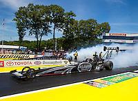 Jun. 1, 2014; Englishtown, NJ, USA; NHRA top fuel driver Shawn Langdon  during the Summernationals at Raceway Park. Mandatory Credit: Mark J. Rebilas-