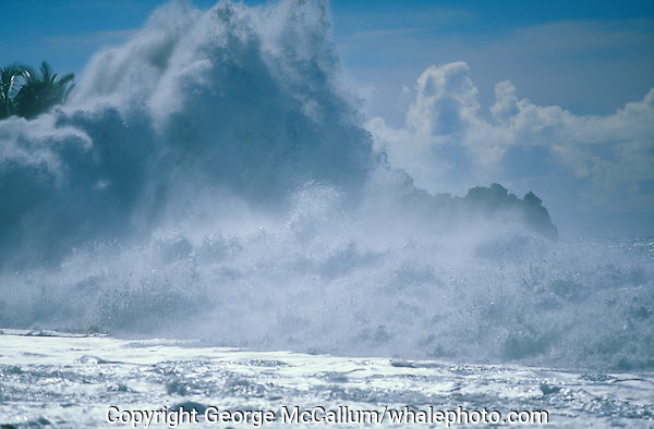 Waves hitting sea wall day after a hurricane, Tazacorte,  La Palma, Canary Islands, Spain