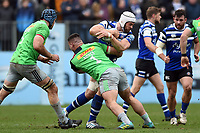 Dave Attwood of Bath Rugby takes on the Harlequins defence. Gallagher Premiership match, between Bath Rugby and Harlequins on March 2, 2019 at the Recreation Ground in Bath, England. Photo by: Patrick Khachfe / Onside Images
