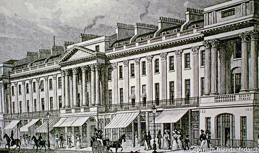 Regent Street, East Side. Historical photo. London, England.